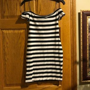 Express Off The Shoulder Dress black and white